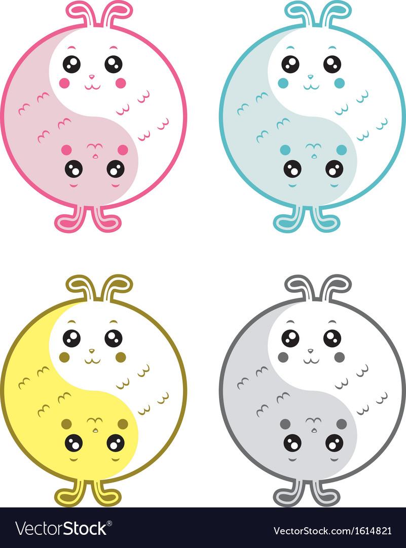 Cute rabbits yin yang vector