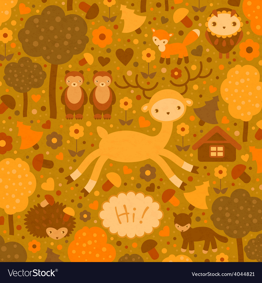 Funny card with wild animals vector | Price: 1 Credit (USD $1)