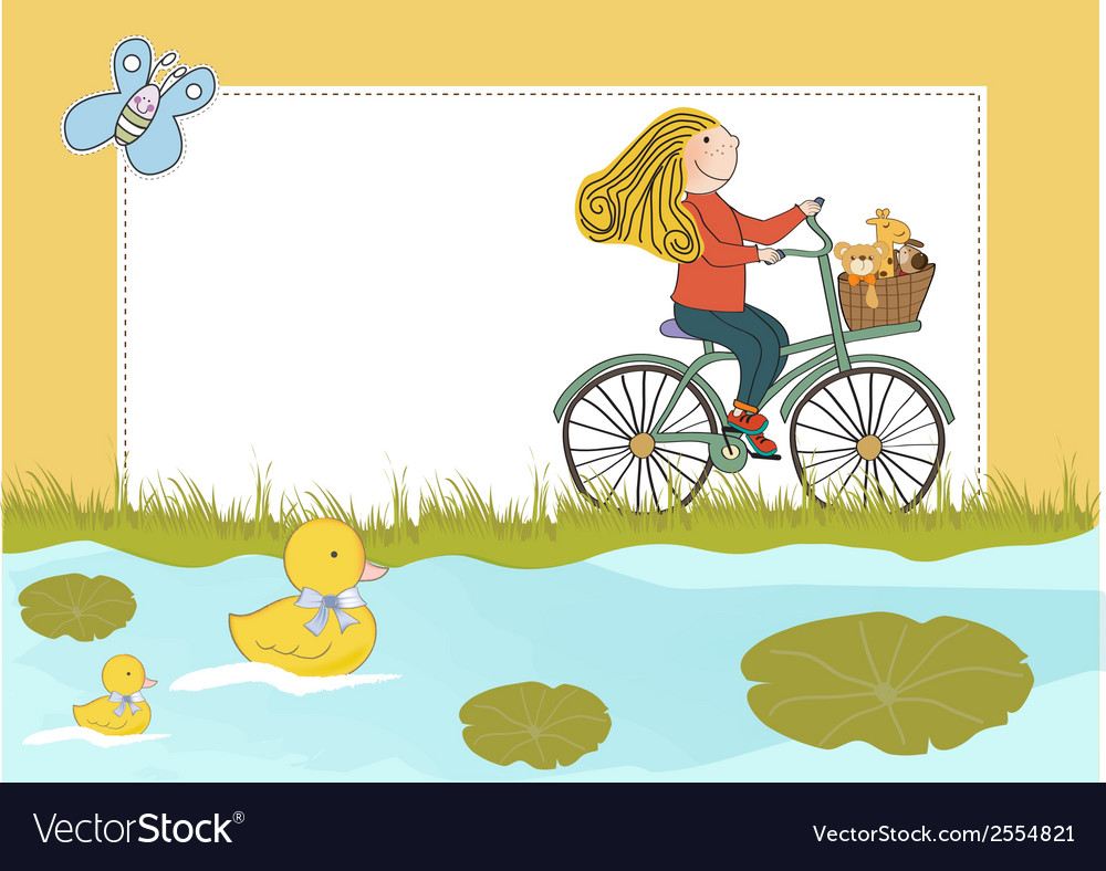 Happy girl on bike vector | Price: 1 Credit (USD $1)