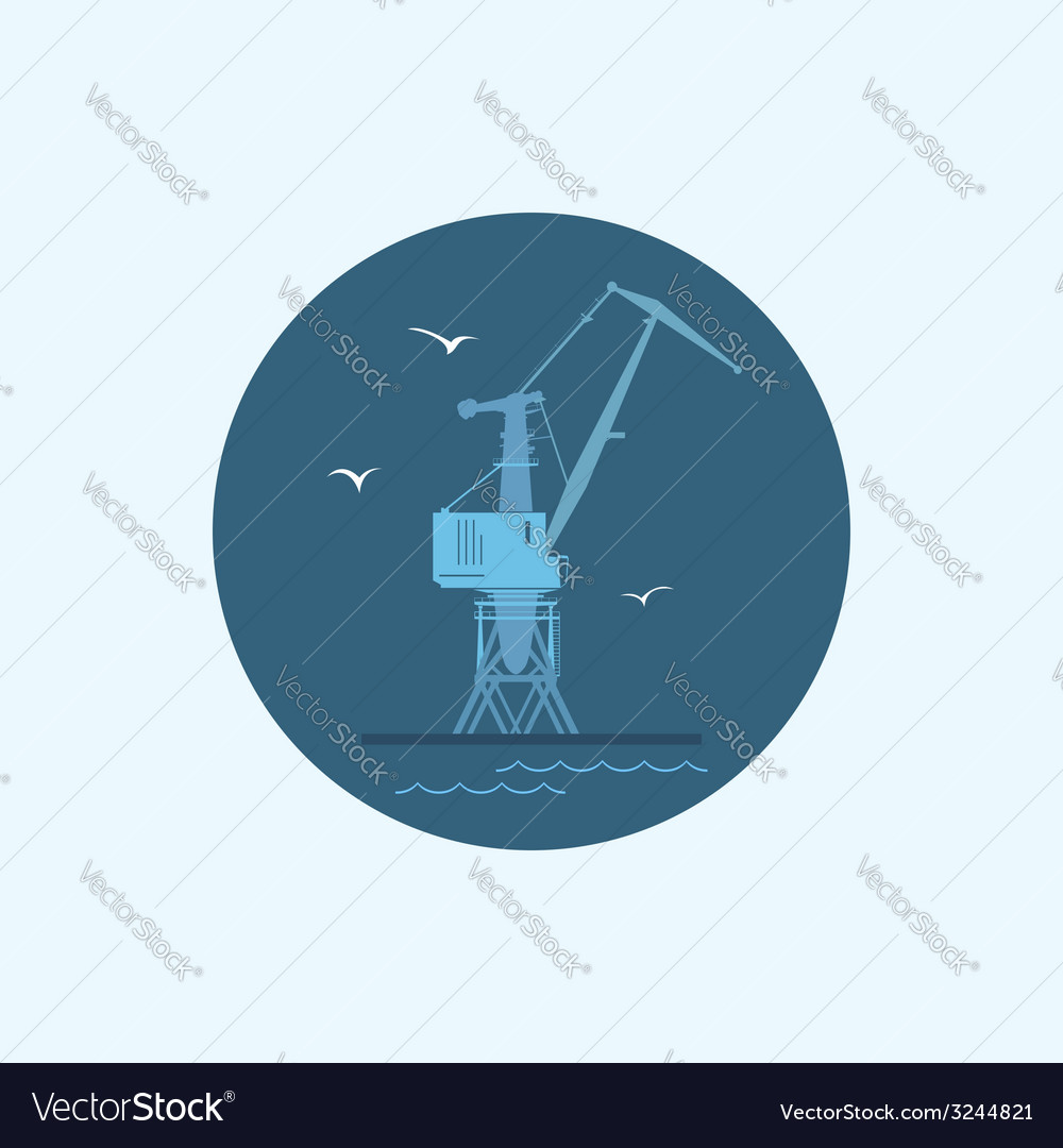 Icon with colored cargo crane vector | Price: 1 Credit (USD $1)