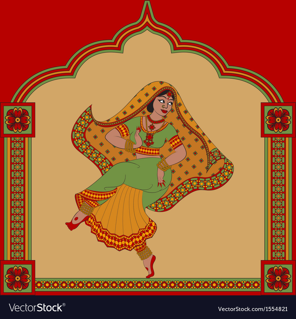 Indiane woman dance vector | Price: 1 Credit (USD $1)