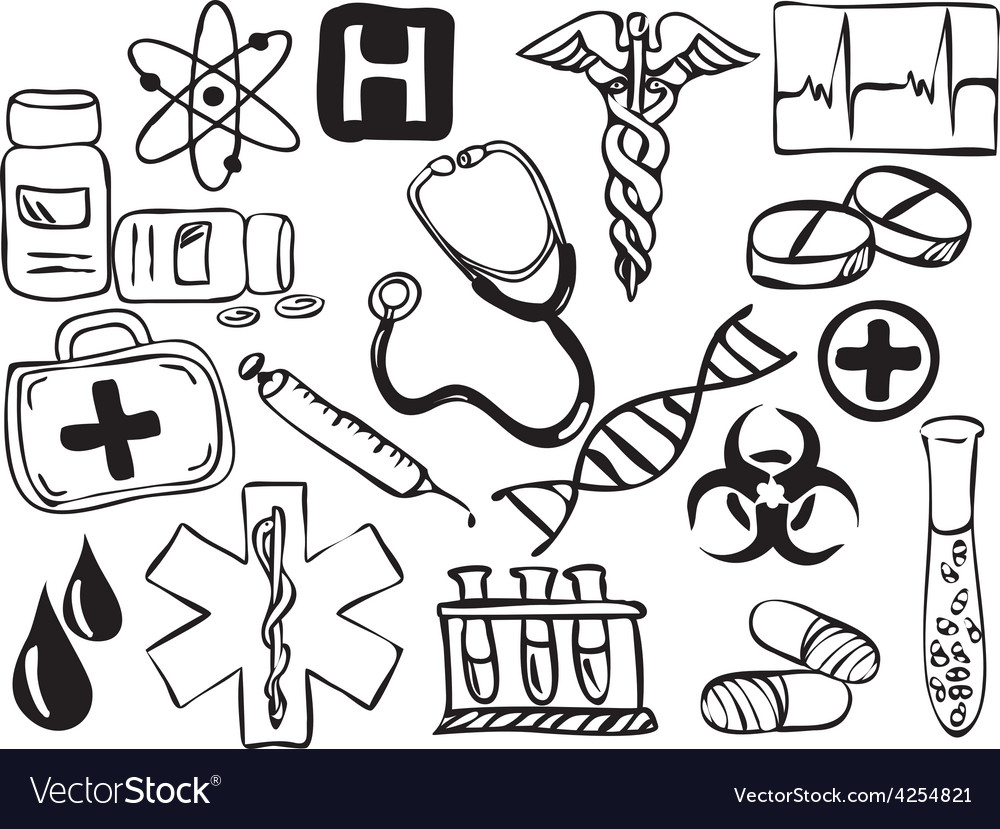 Medical and pharmacy icons drawing vector | Price: 1 Credit (USD $1)