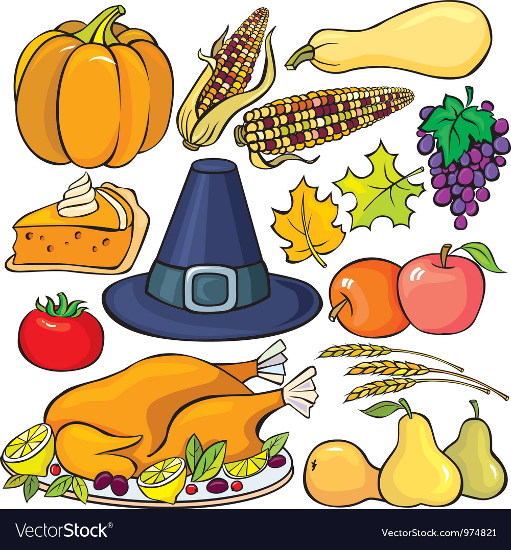 Thanksgiving day icon set vector | Price: 3 Credit (USD $3)
