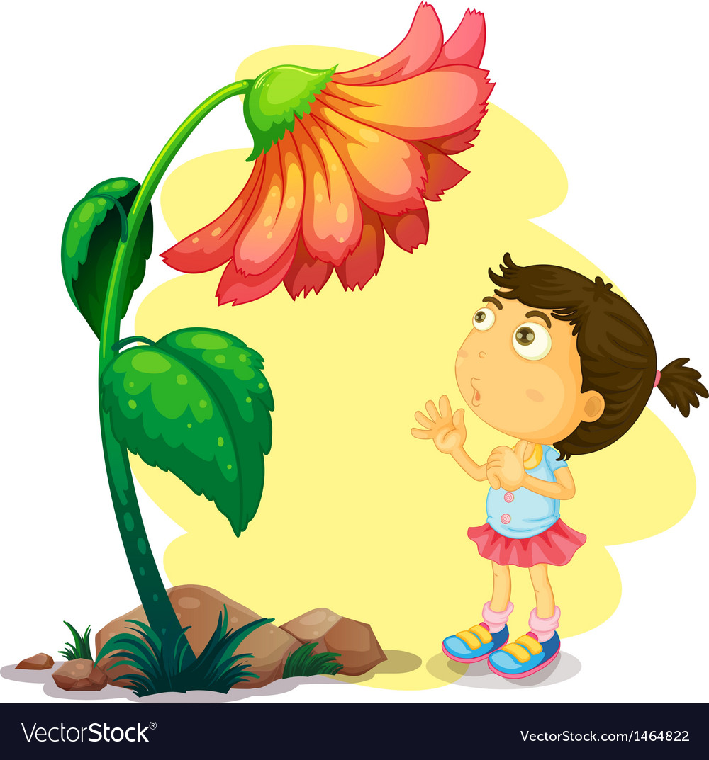 A young girl below the giant flower vector | Price: 1 Credit (USD $1)