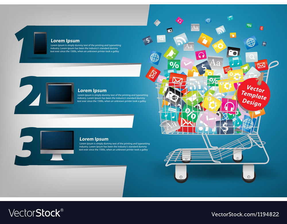 Application icon concept in the shopping cart vector | Price: 3 Credit (USD $3)