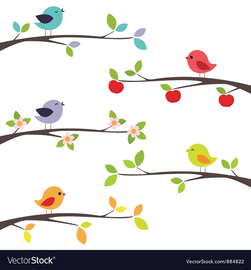 Birds on branches vector | Price: 1 Credit (USD $1)