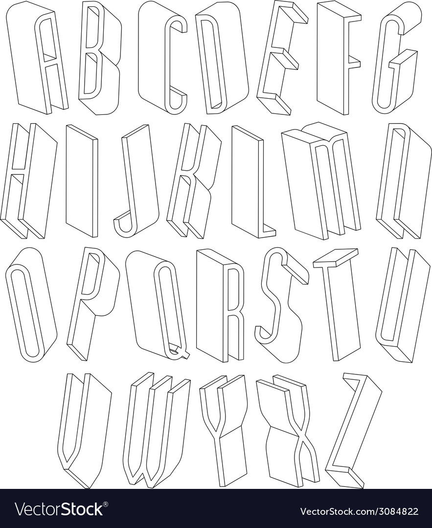 Black and white 3d font made with thin lines vector | Price: 1 Credit (USD $1)