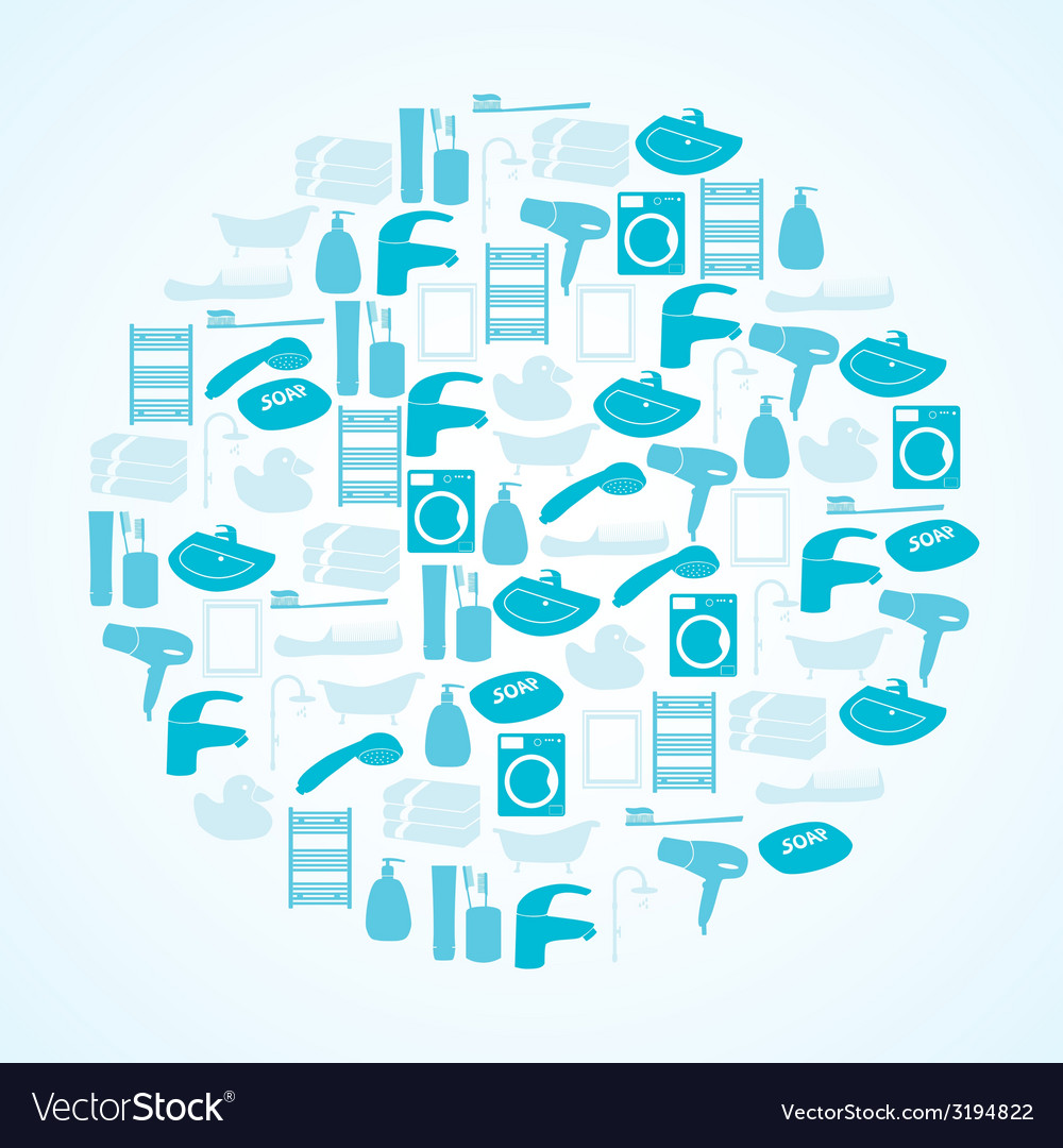 Blue bathroom icons set in circle eps10 vector | Price: 1 Credit (USD $1)