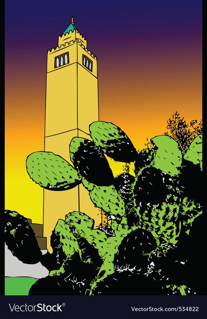 Cactus and minaret  tunis vector | Price: 1 Credit (USD $1)