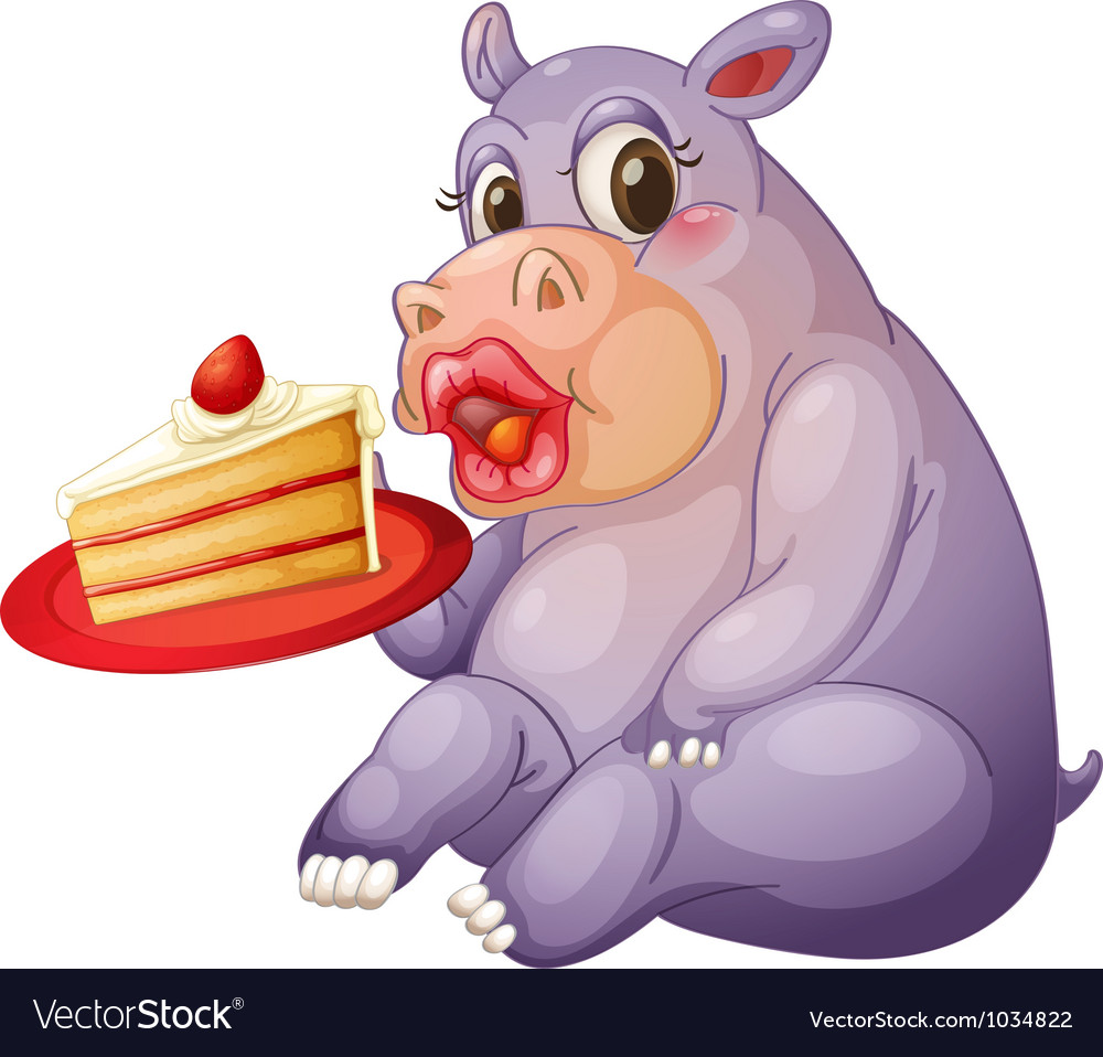 Hippopotamus and pastry vector | Price: 1 Credit (USD $1)
