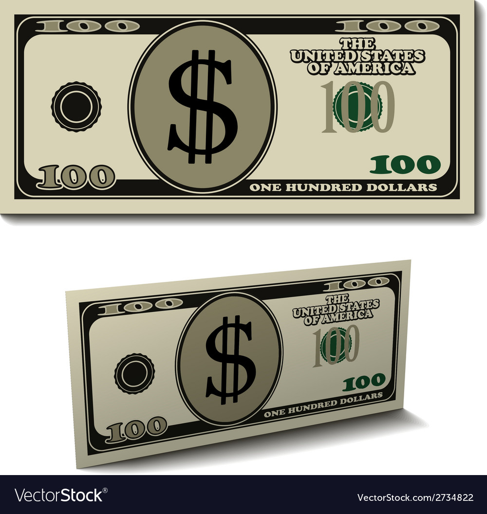 Hundred dollar paper bill banknote vector | Price: 1 Credit (USD $1)