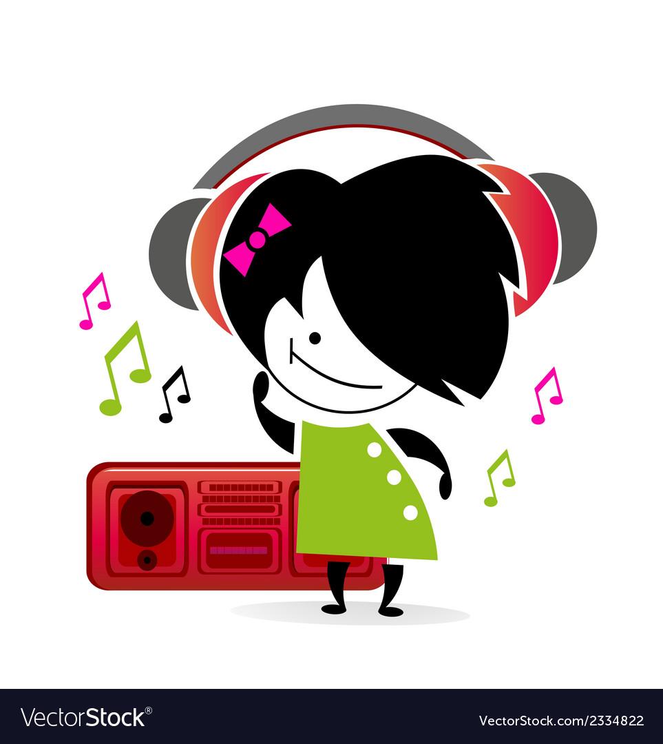 Music girl vector | Price: 1 Credit (USD $1)
