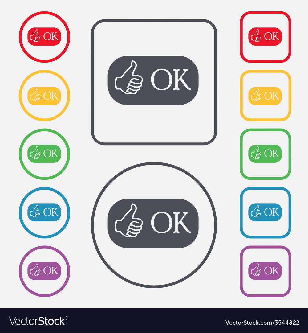Ok sign icon positive check symbol set of colored vector | Price: 1 Credit (USD $1)