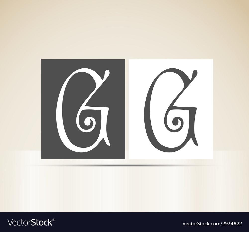 Retro alphabet letter g art deco vintage design vector | Price: 1 Credit (USD $1)