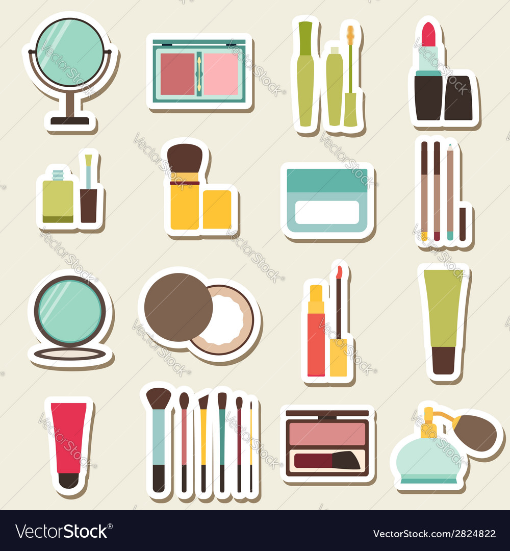 Set of beauty and cosmetics colorful icons vector | Price: 1 Credit (USD $1)