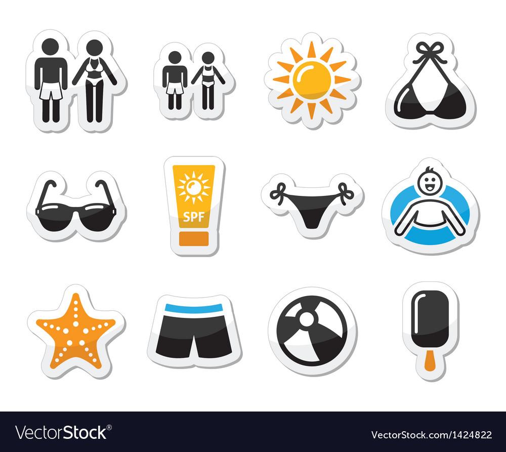Summer beach holidays icons set vector | Price: 1 Credit (USD $1)
