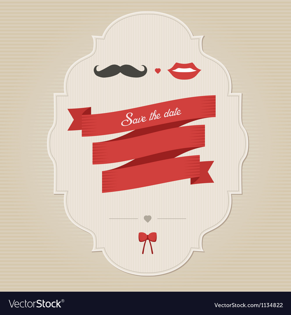 Vintage wedding invitation with lips and moustache vector | Price: 1 Credit (USD $1)