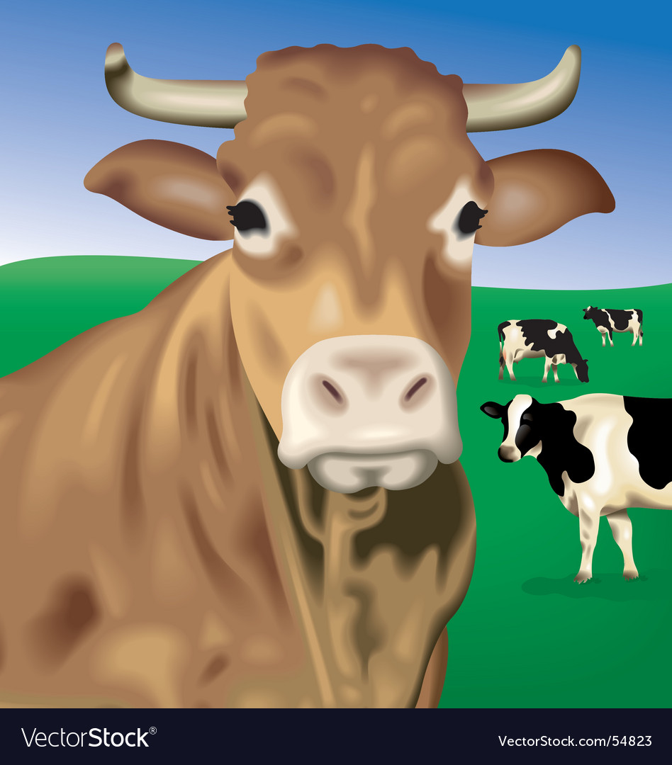 Cows on hill vector | Price: 1 Credit (USD $1)