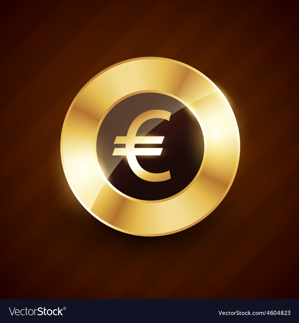 Euro golden coin design with shiny effects vector | Price: 1 Credit (USD $1)