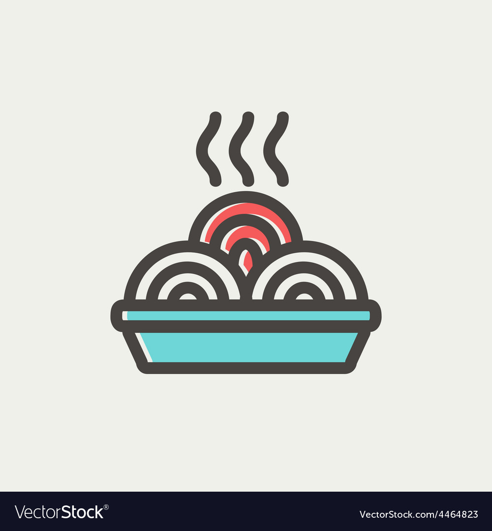 Hot meal in plate thin line icon vector | Price: 1 Credit (USD $1)