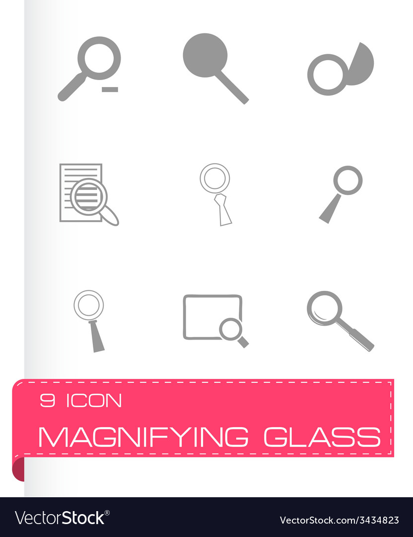 Magnufying glass icons set vector | Price: 1 Credit (USD $1)