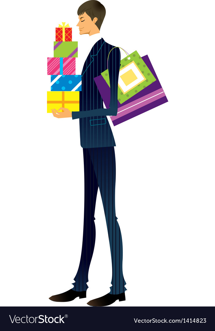 Man holding gift box vector | Price: 3 Credit (USD $3)
