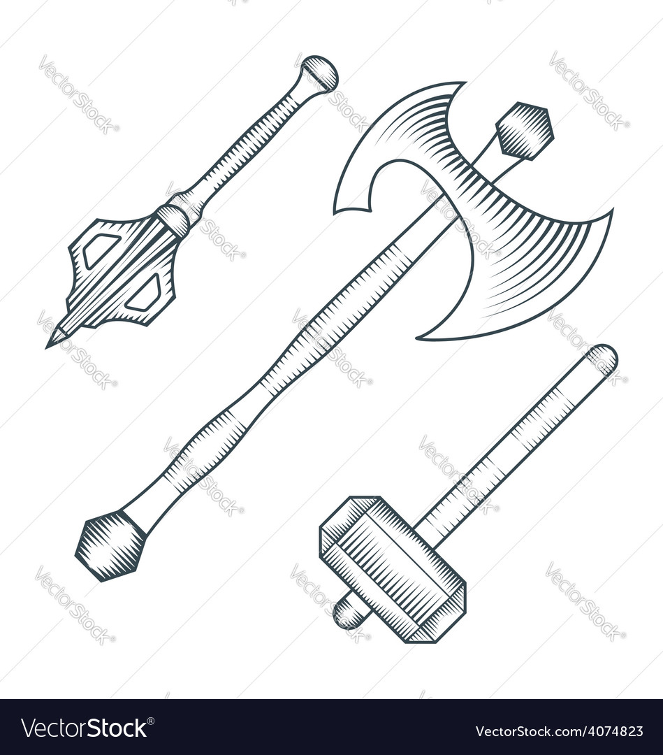 Medieval axe warhammer mace engraving style vector | Price: 1 Credit (USD $1)
