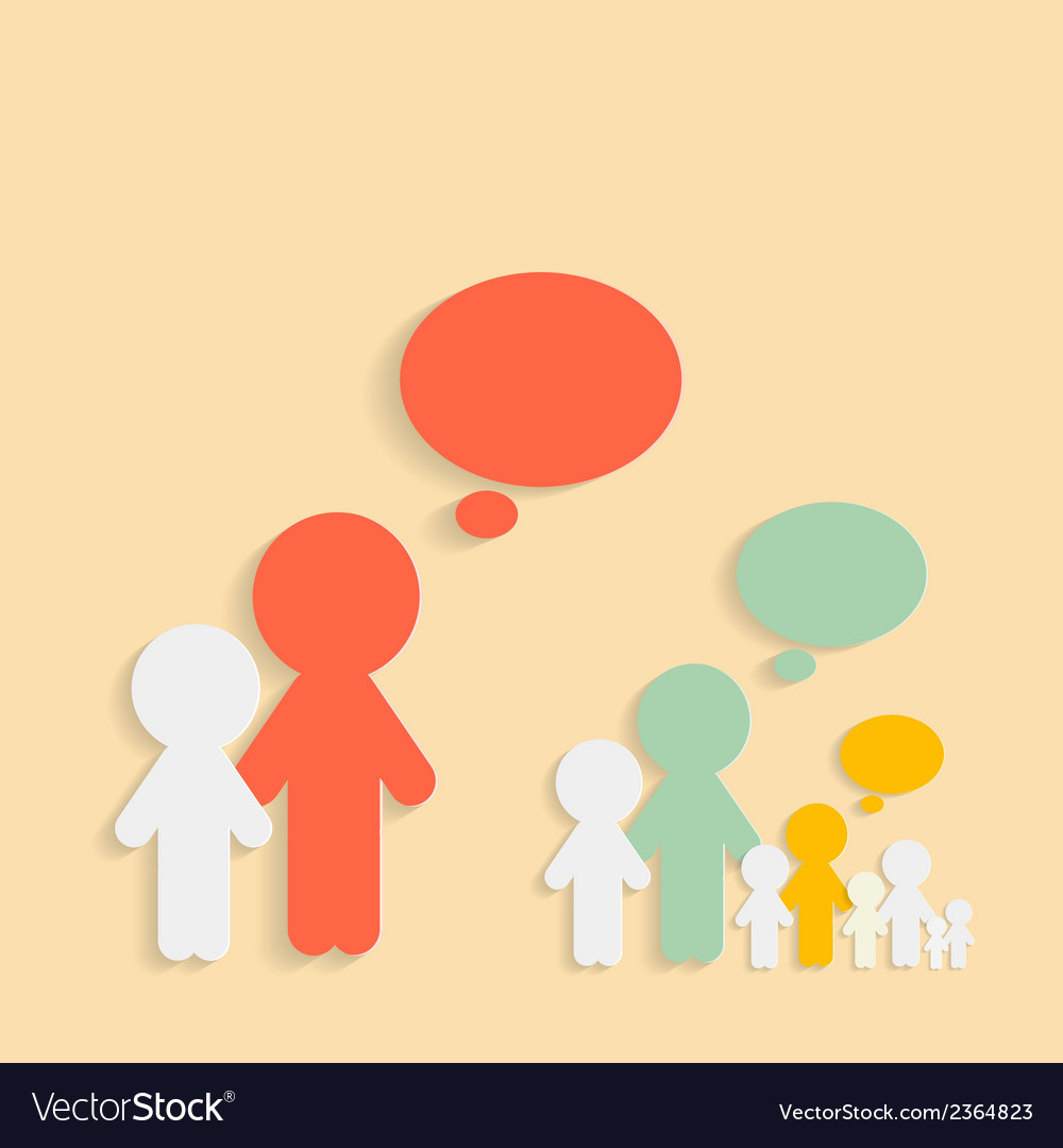 Paper cut people with speech bubbles vector | Price: 1 Credit (USD $1)