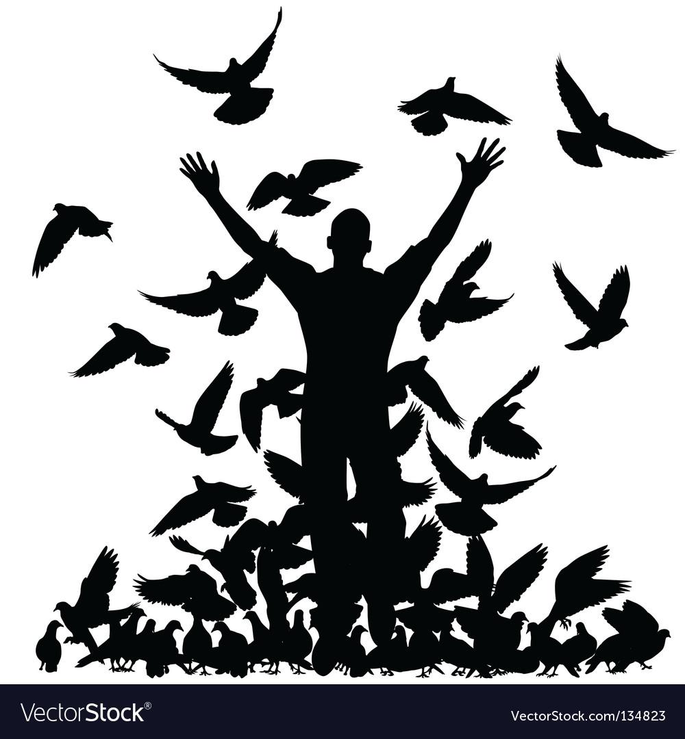 Pigeon man vector | Price: 1 Credit (USD $1)