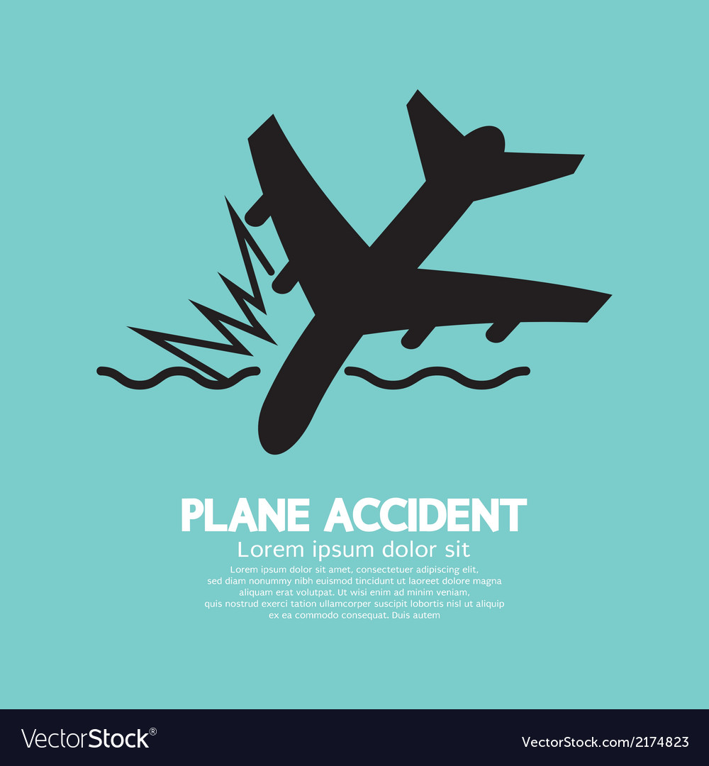 Plane accident sinking into the sea vector | Price: 1 Credit (USD $1)
