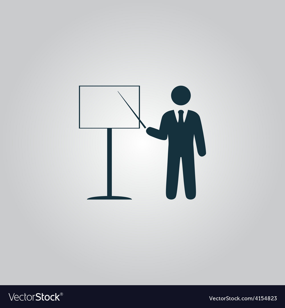 Presentation sign icon man standing with pointer vector | Price: 1 Credit (USD $1)