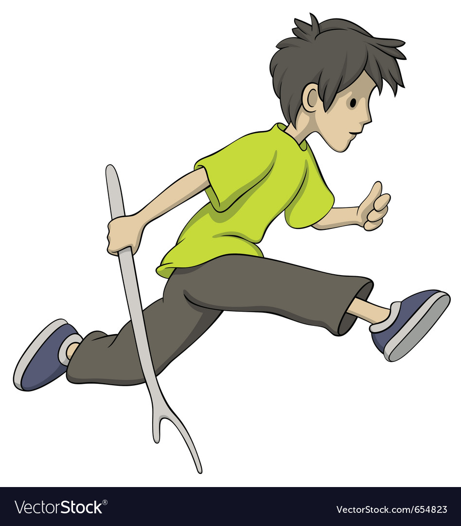 Running boy with a stick vector | Price: 3 Credit (USD $3)