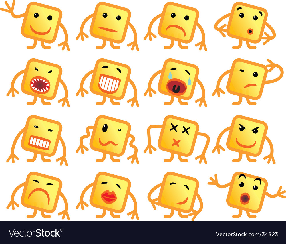 Square smiles vector | Price: 1 Credit (USD $1)