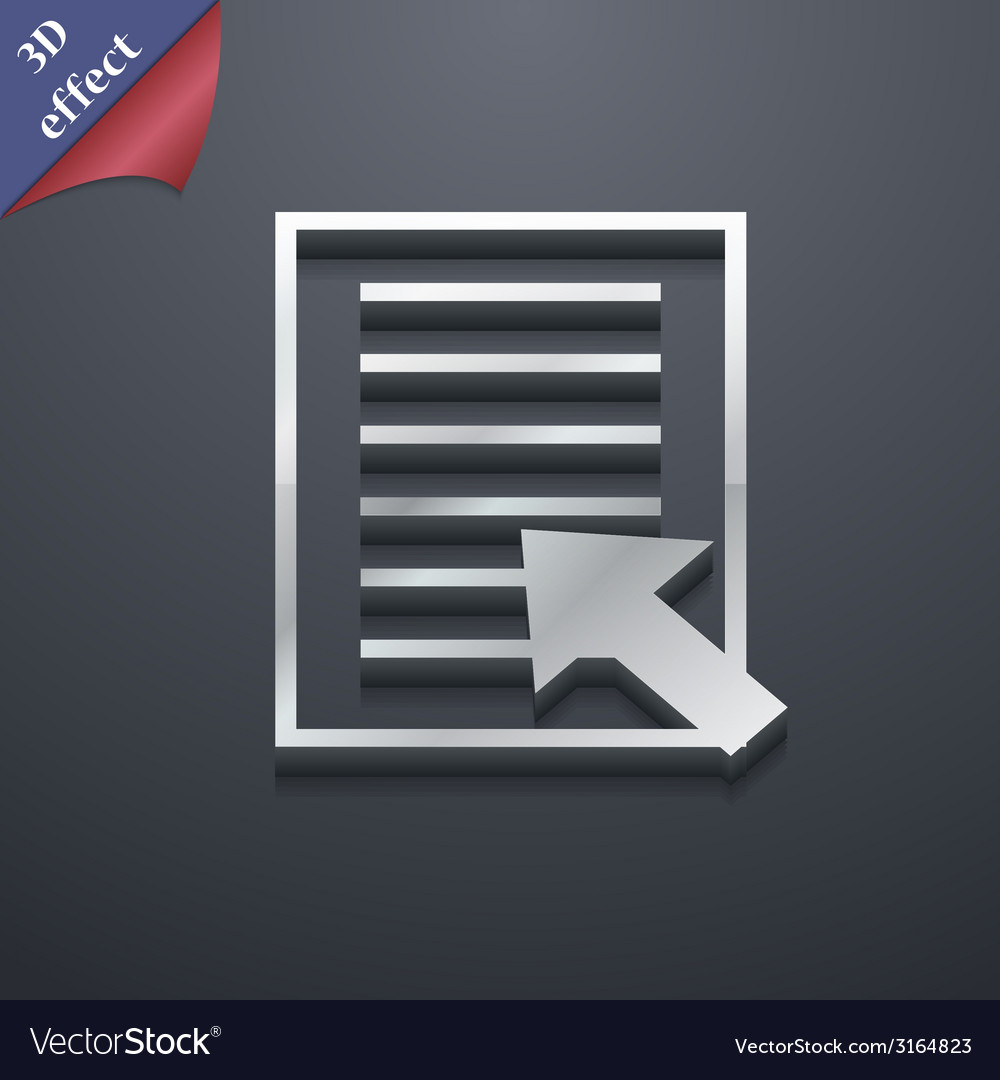 Text file icon symbol 3d style trendy modern vector | Price: 1 Credit (USD $1)