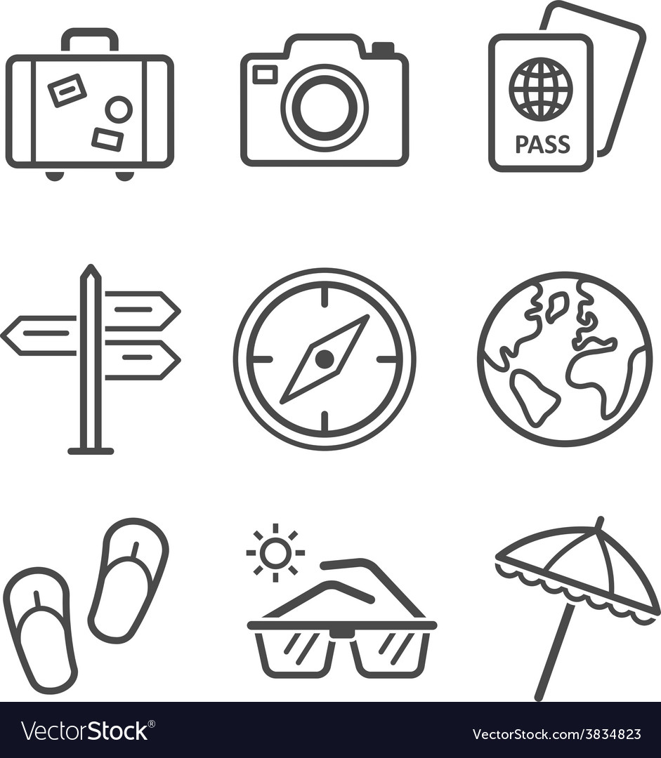 Travel and tourism icon set simplus series each vector | Price: 1 Credit (USD $1)