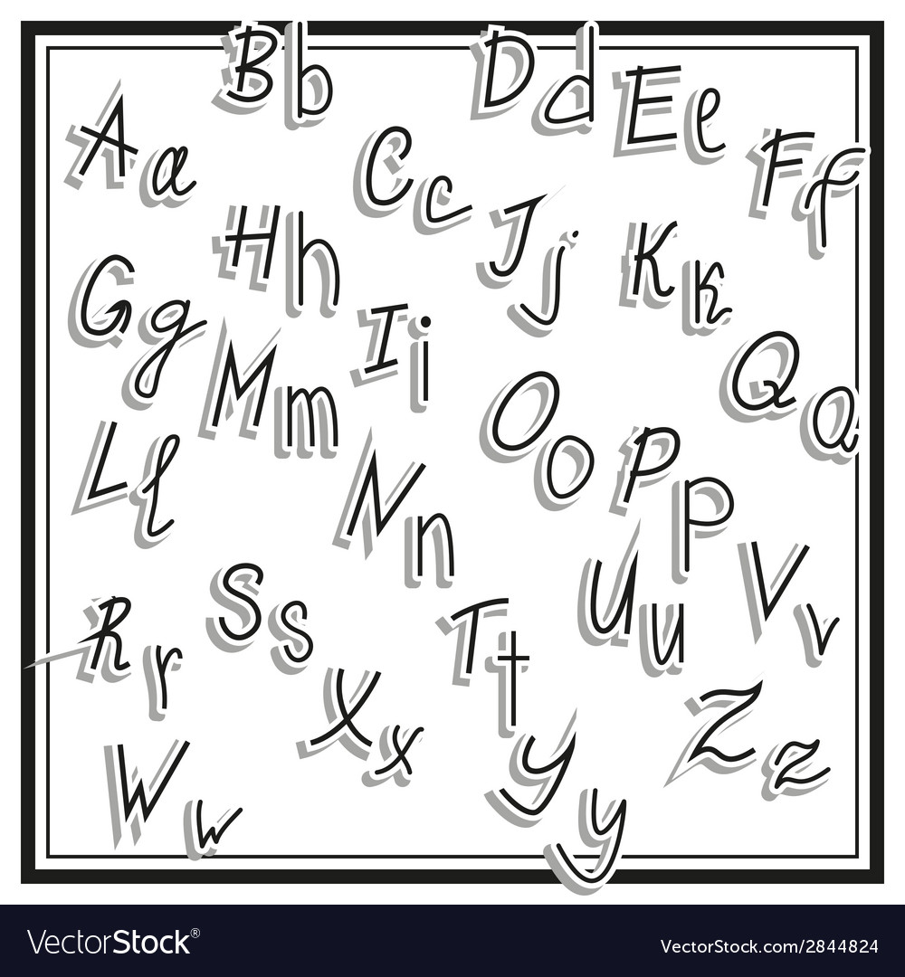 Hand cut alphabet sticker set white color school vector | Price: 1 Credit (USD $1)