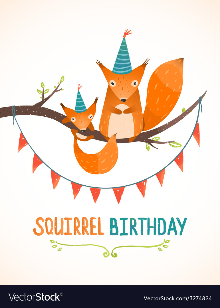 Little squirrel and mother birthday greeting card vector | Price: 1 Credit (USD $1)