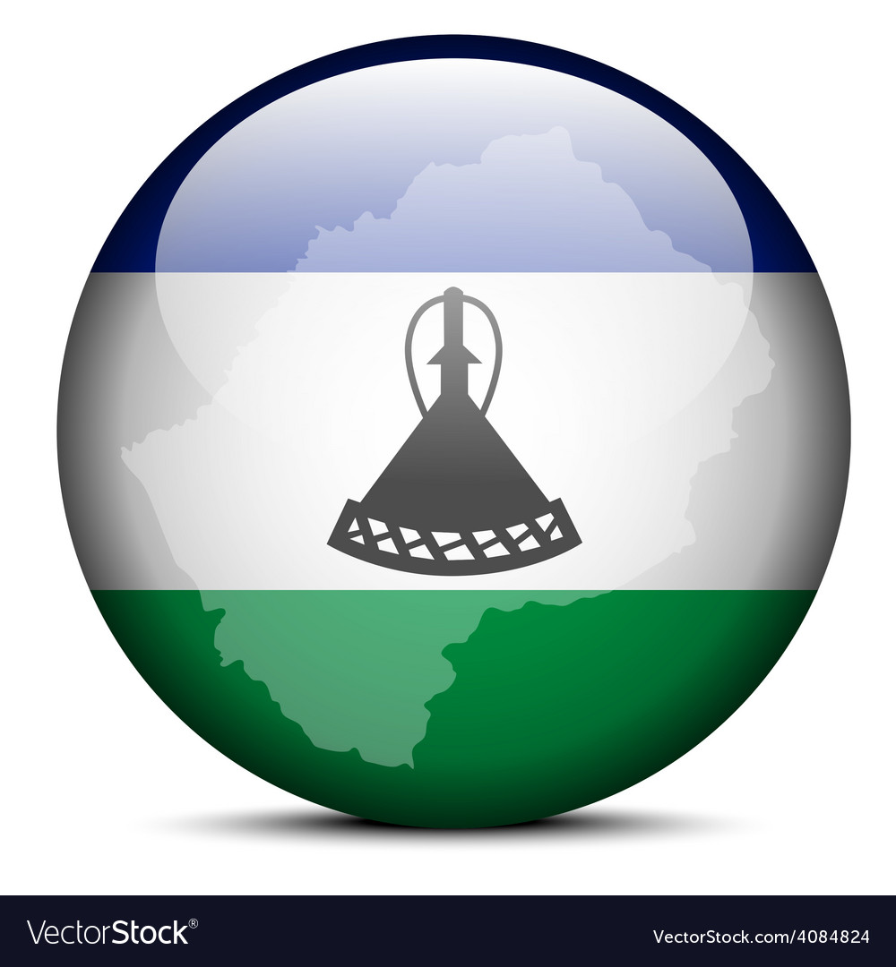 Map on flag button of lesotho vector | Price: 1 Credit (USD $1)