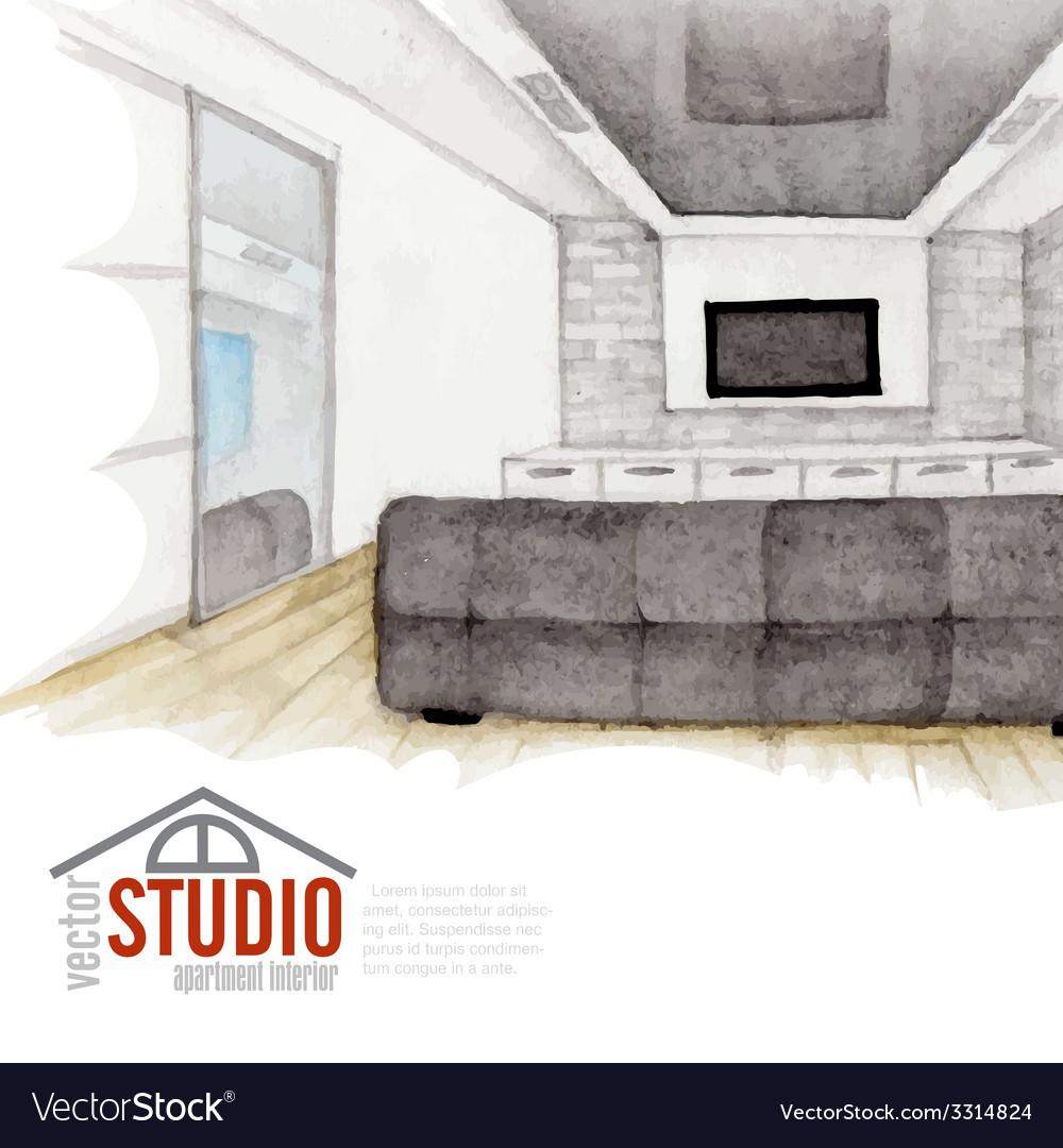 Modern watercolor interior design vector   Price: 1 Credit (USD $1)