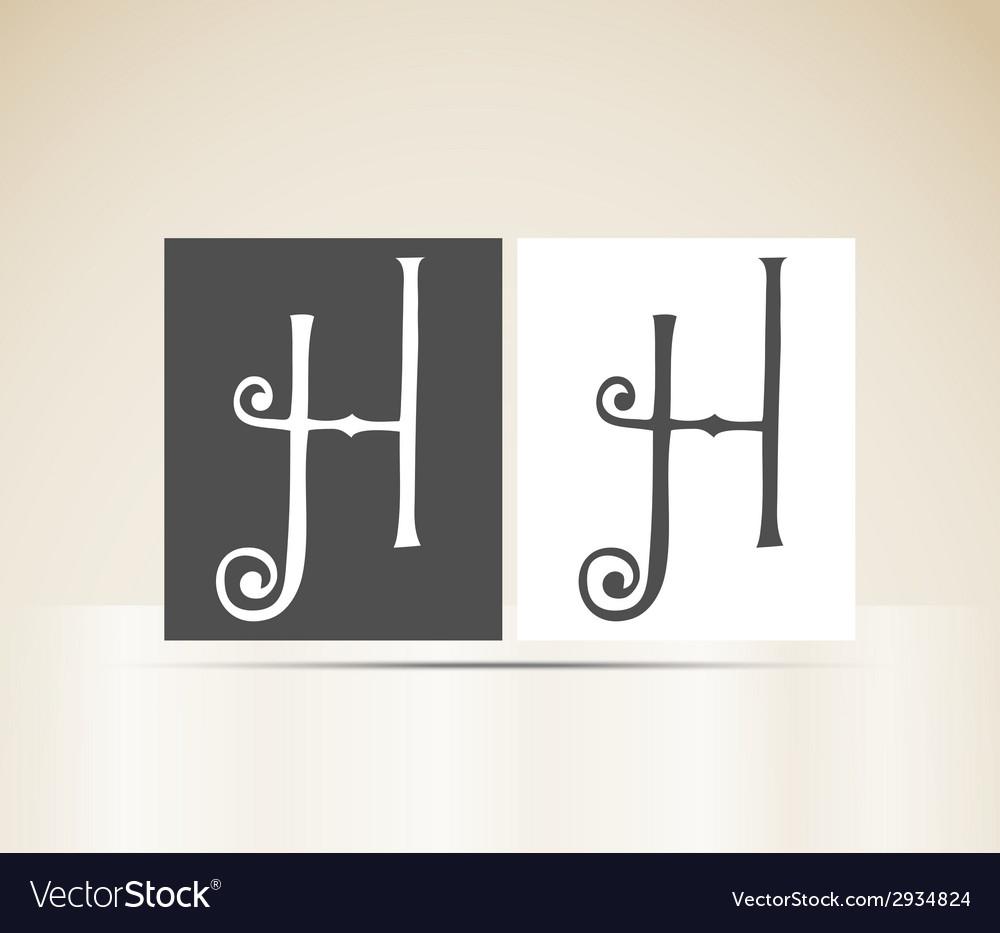 Retro alphabet letter h art deco vintage design vector | Price: 1 Credit (USD $1)