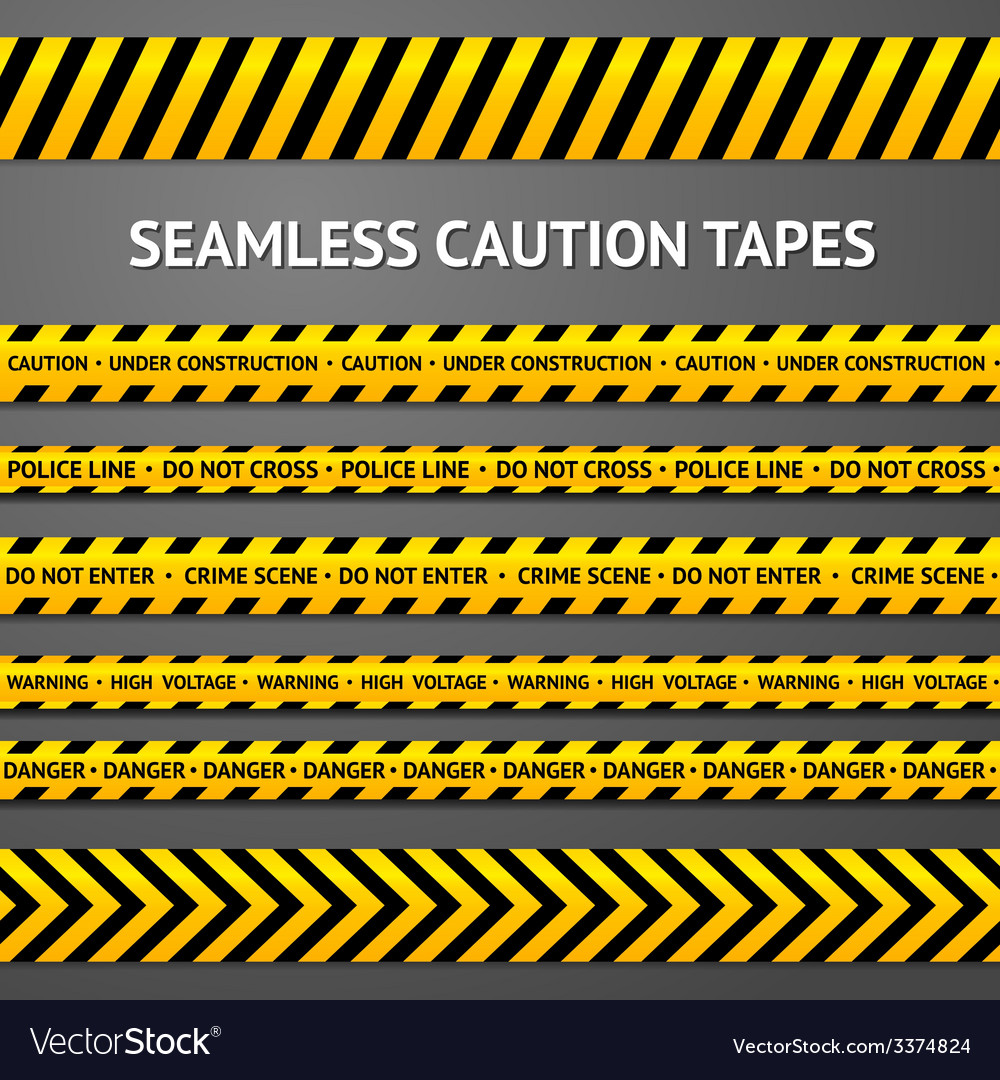 Set of black and yellow seamless caution tapes vector | Price: 3 Credit (USD $3)