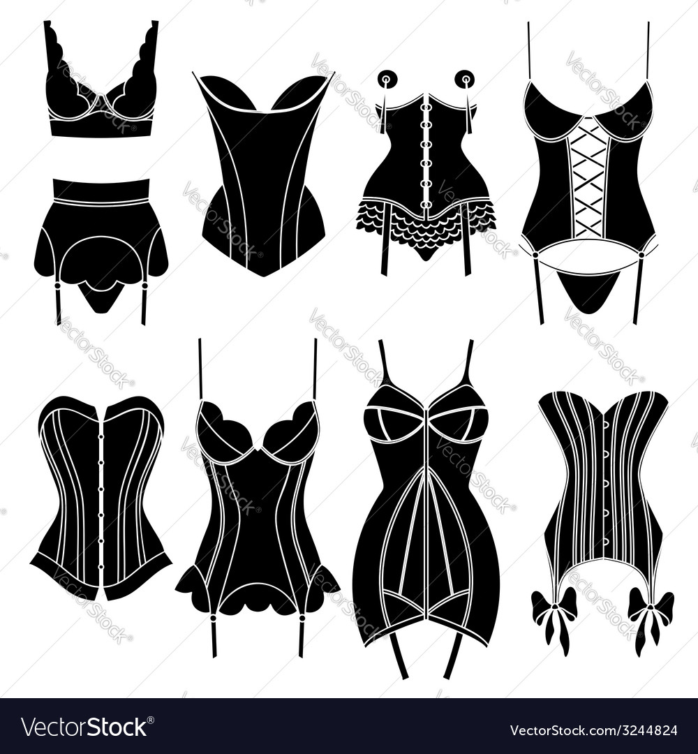 Set of vintage lingerie elements vector | Price: 1 Credit (USD $1)