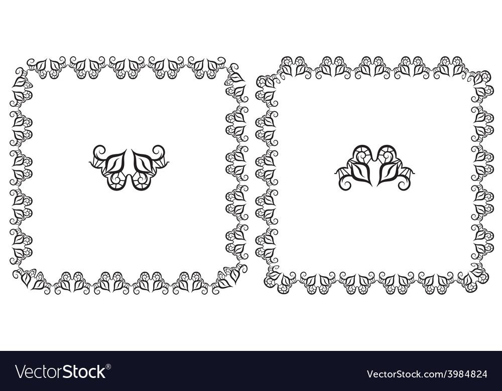 Set openwork floral frame for design vector | Price: 1 Credit (USD $1)