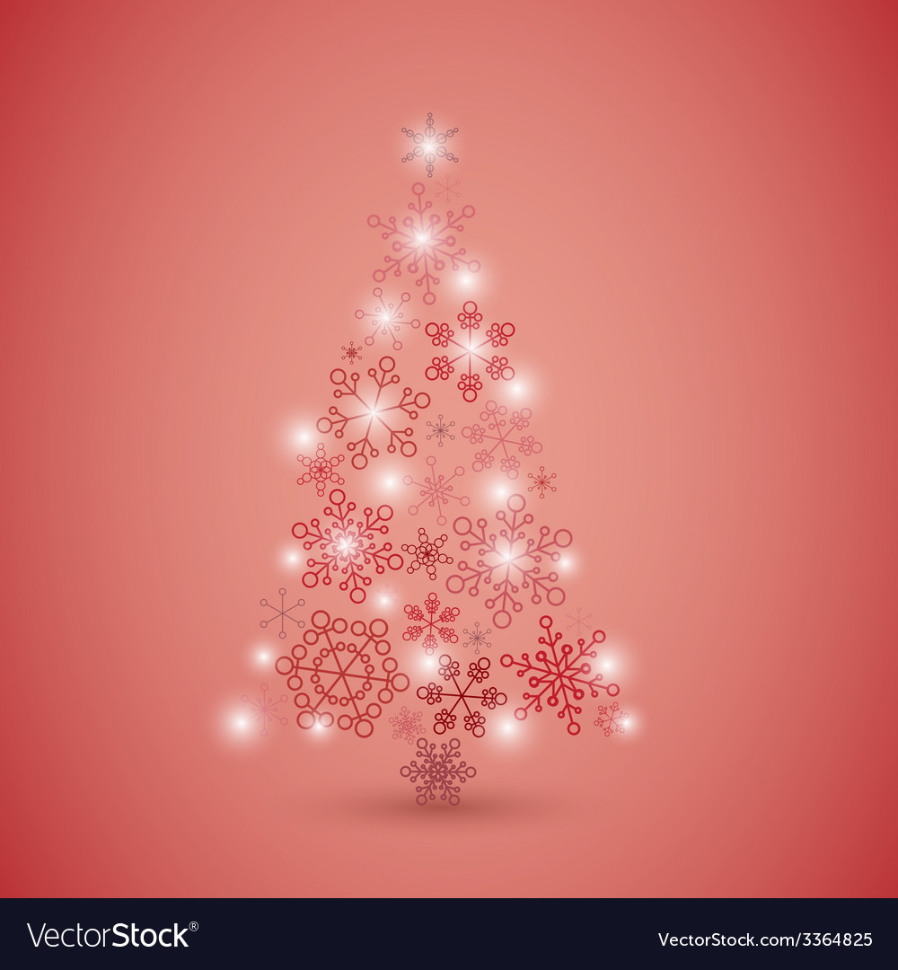 Christmas tree made from red snowflakes vector | Price: 1 Credit (USD $1)