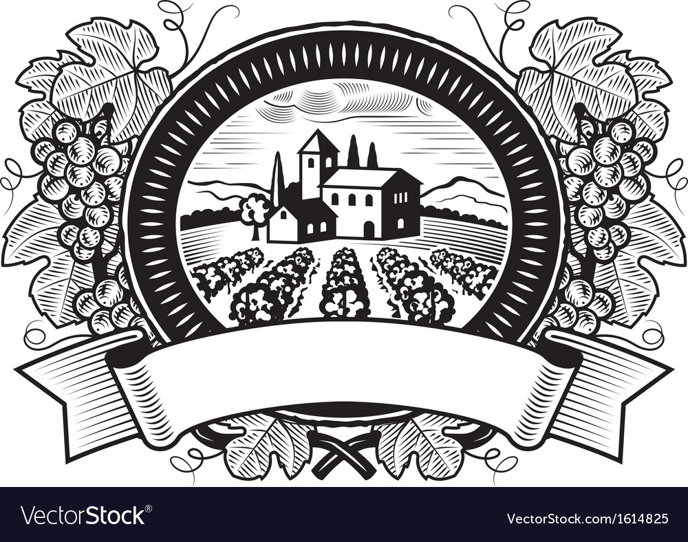 Grapes harvest label black and white vector | Price: 1 Credit (USD $1)