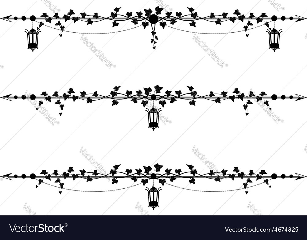 Ivy border with street lamp vector | Price: 1 Credit (USD $1)