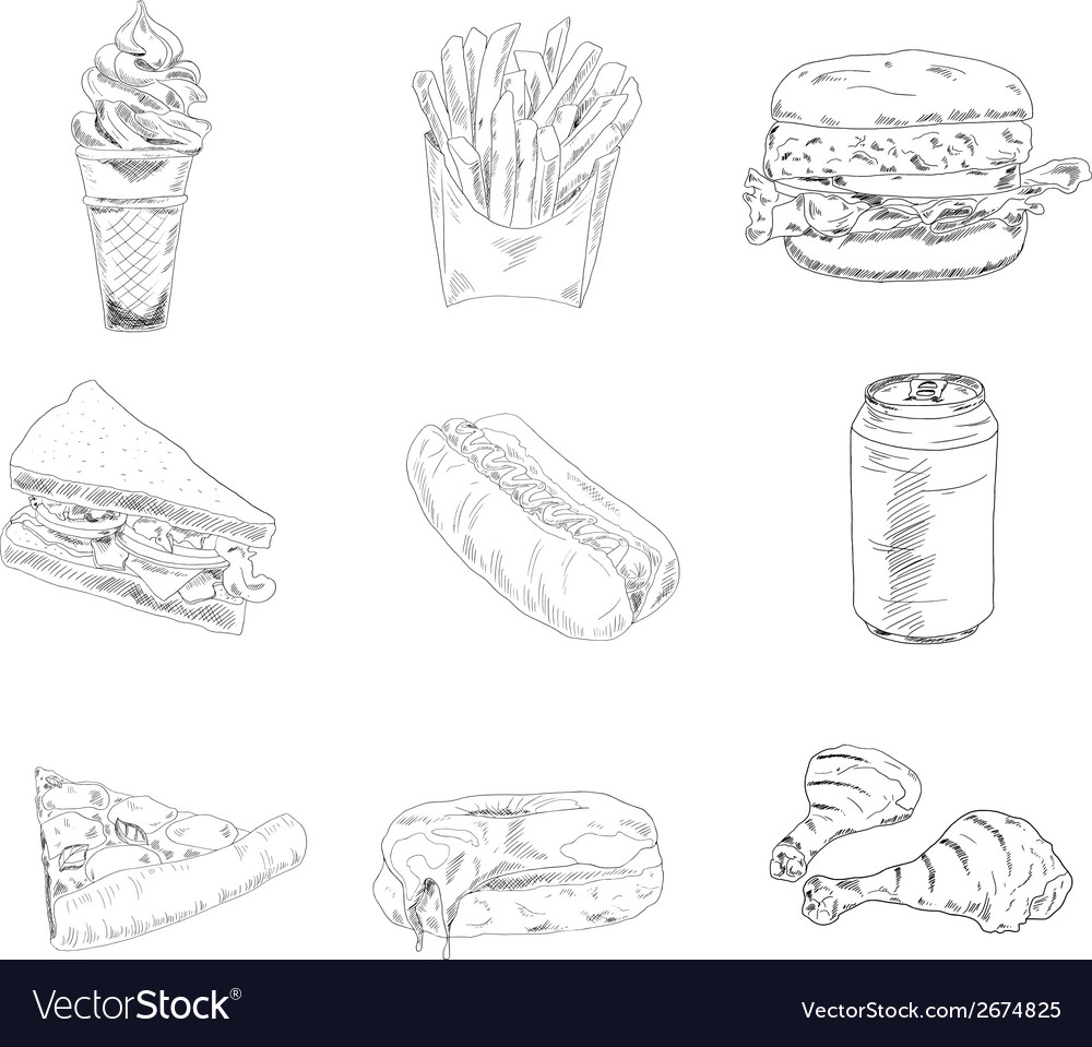 Set of fast food icons vector | Price: 1 Credit (USD $1)
