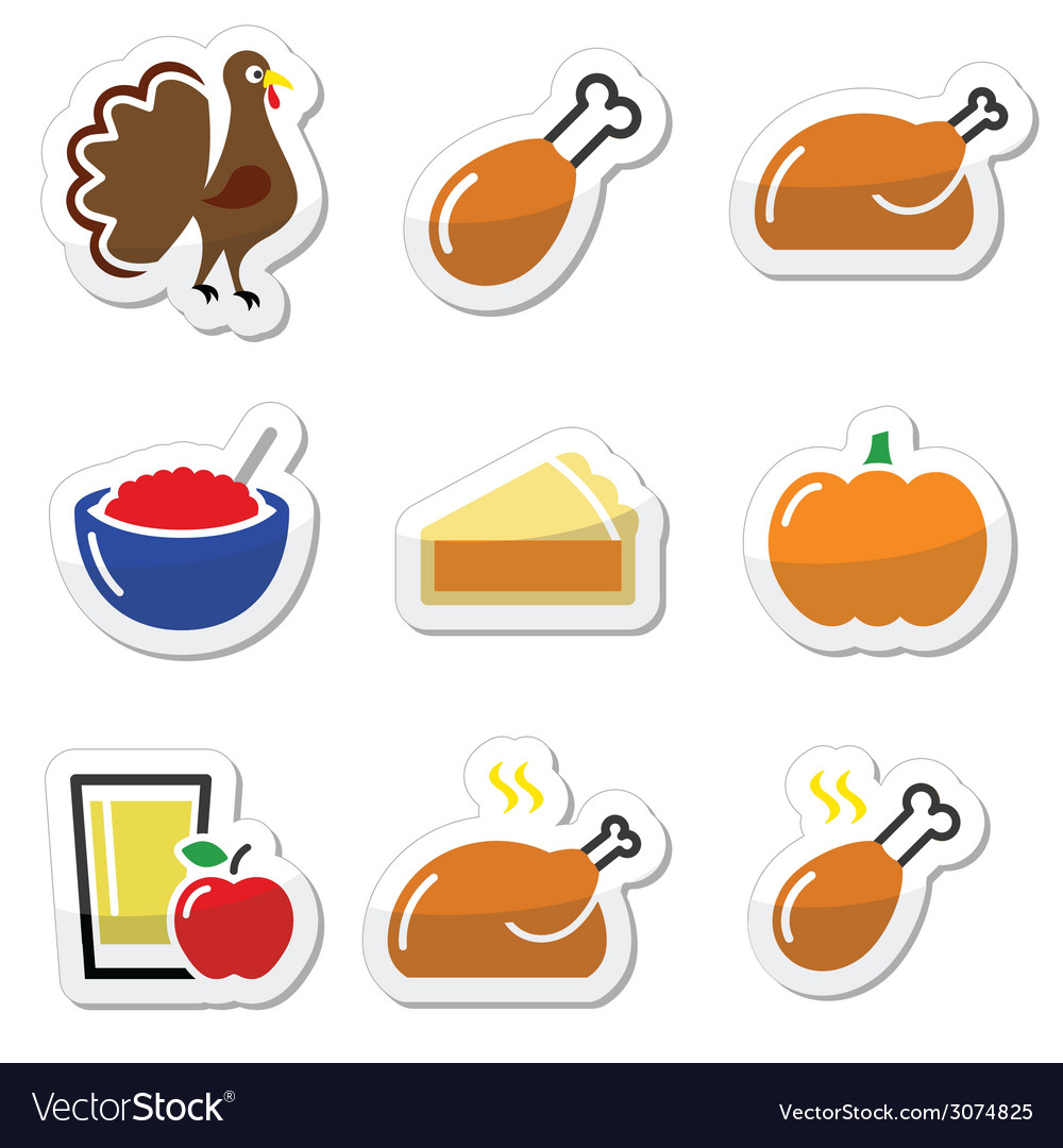 Thanksgiving day food icons set - turkey pumpkin vector | Price: 1 Credit (USD $1)