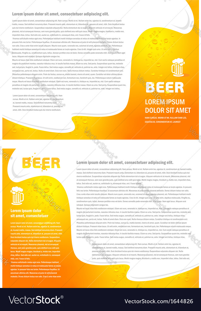Brochure folder card beer bar element design vector | Price: 1 Credit (USD $1)