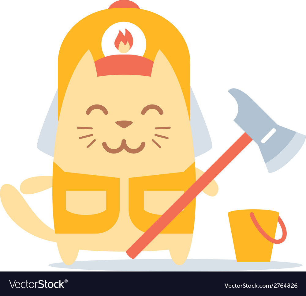 Character firefighter in coveralls and helmet vector | Price: 1 Credit (USD $1)